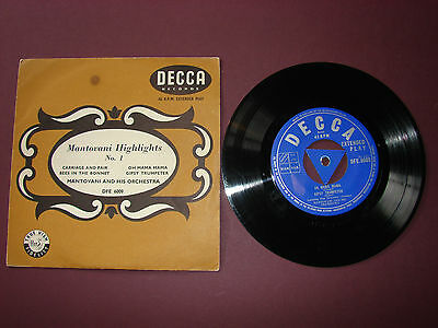 "Mantovani Highlights No. 1 4 track EP 7"" Single Record DFE.6009 EFF.17"