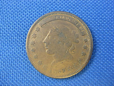 1837 Hard Times Token Not One Cent Motto Copper Coin