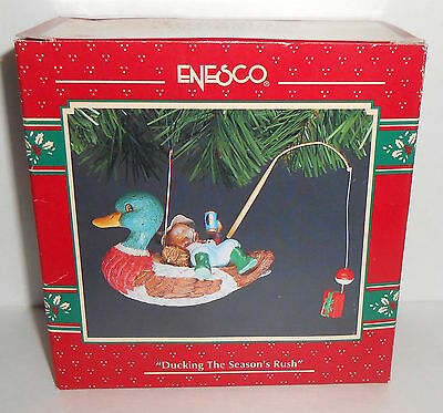 Vtg Enesco DUCKING THE SEASONS RUSH Fishing 1993 Father Christmas Ornament Box