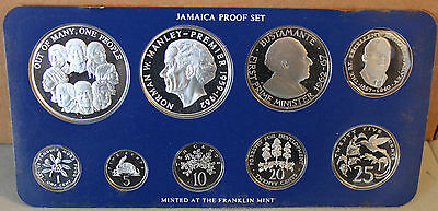 1978 Jamaica Silver Proof Set 9 Coin Featuring Humming Bird Butterfly Croc More