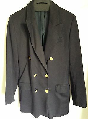 Vintage Navy Blue Pure Wool Blazer With Gold Metal Buttons Size 12