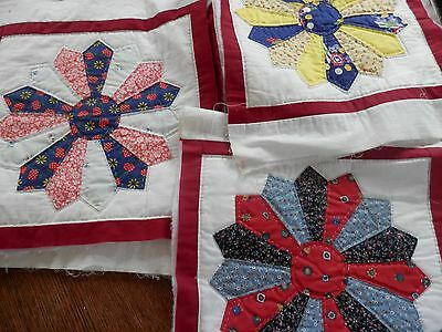 9 Hand Sewn and Hand Quilted Dresden Quilt Blocks, Measure 15.5 in. Square