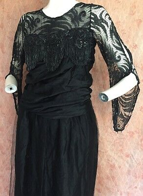 Late 1910s  Black Silk & Lace Beaded Evening Dress Sequins Sheer Antique Vintage