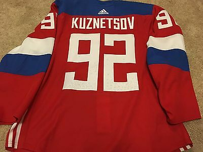 EVGENI KUZNESTOV 2016 World Cup of Hockey Team Russia Red Game Worn Used Jersey