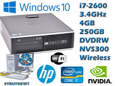 HP Elite 8200 Desktop PC i7-2600 3.4GHz 4GB RAM 250GB HD DVDRW NVIDIA WiFi Win10