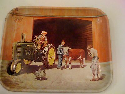 John Deere Tractor Winners All Collectible Tin Steel Tray Cow Chickens Vintage