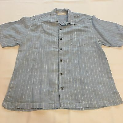 Tommy Bahama Men's Blue/White Striped Short Sleeve Shirt Button-Down Size L