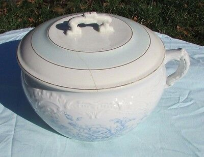 Antique Stoneware Utah Pottery Blue flower transfer ware Chamber Pot