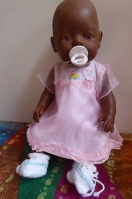 Vintage Zapf Black Baby Born Doll African with Pink Eyes original clothes
