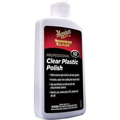 NEW Meguiars Plastic Polish Car Wax Motorcycles RV Mirror Glaze Clear M10 8 oz.