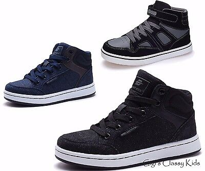 New Boys High Top Canvas Skate Tennis Shoes Laces Sneakers Kids Youth Black Blue