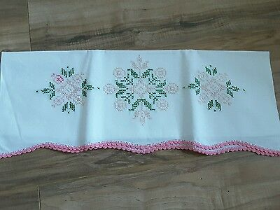Vintage Embroidered Pillowcase Pink Flowers Linens