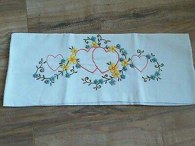 Vintage Embroidered Pillowcase Hearts and Flowers Linens