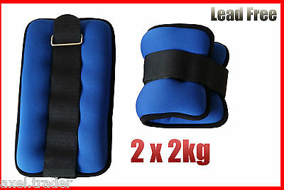 2 x 2kg (4kg) ANKLE SOFT WEIGHTS GYM EQUIPMENT WRIST FITNESS YOGA TRAINING