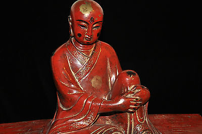 Large Red Lacquer Bronze Sit Lohan Buddha  19C