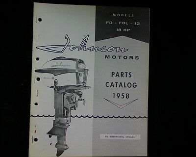 1958 Johnson 18 hp. FD FDL 12 outboard  spare parts manual, book