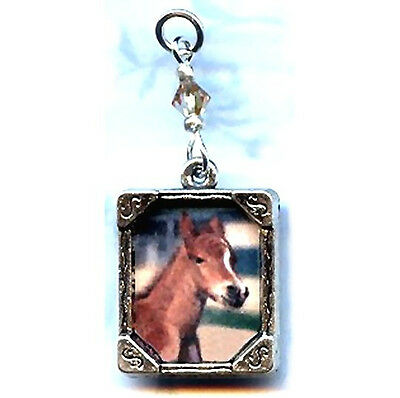 Brown Horse Colt Filly Pony Charm Pendant W/ Crystal Accent Artisan Crafted