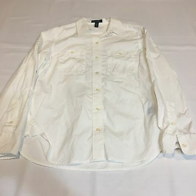 Polo Ralph Lauren Solid White 100% Cotton Long Sleeve Button-Down Shirt Size S
