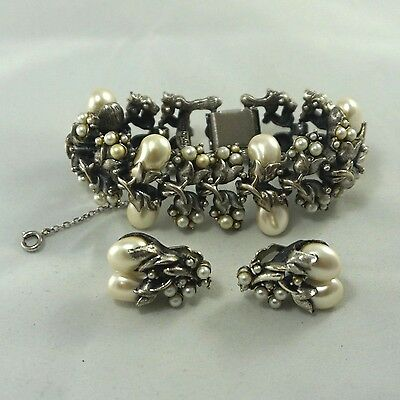 "LARGE Vintage Early Tortolani Designer Silver Pearl 7.5"" Bracelet Earrings Set"