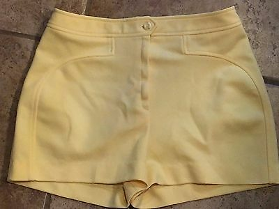 Vtg 60's Yellow Womens Polyester Knit Short Shorts 13/14 By Sissie's California
