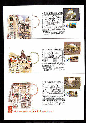 Israel 2000 Set 3 Covers, Pilgrimage Of The Pope To Israel Scott # 1369/71 !!