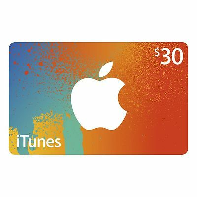 iTunes $30 Gift Card - Code emailed