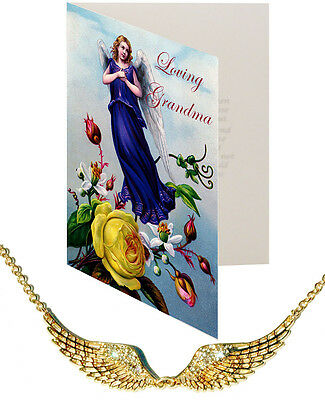 Loving Grandma Card & Angel Wing Pendant Nickel Silver Crystal Gold Plt Protect
