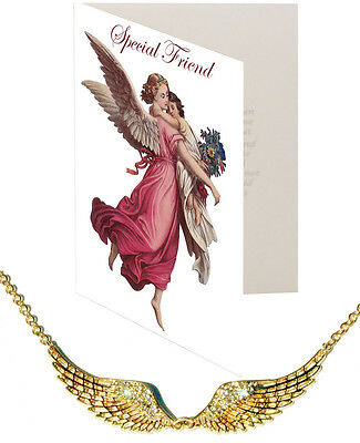 Special Friend Card & Angel Wing Pendant Nickel Silver Crystal Gold Lyr Protect
