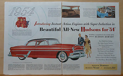 1954 two page magazine ad for Hudson - Hornet Club Coupe, Instant Action engine