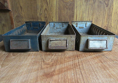 3 X Old Vintage Metal Drawer Trays / Storage Boxes - Retro Industrial