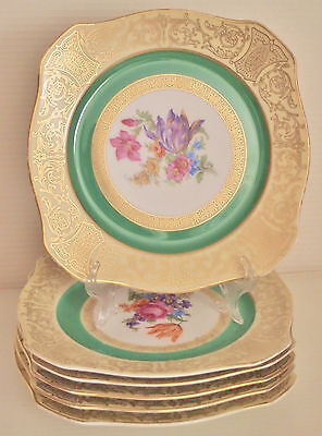 Rare PT Bavaria Tirschenreuth Floral Gilded Square Dinner Plates set of 6 c.1930
