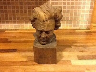 Small carved wooden bust of Beethoven