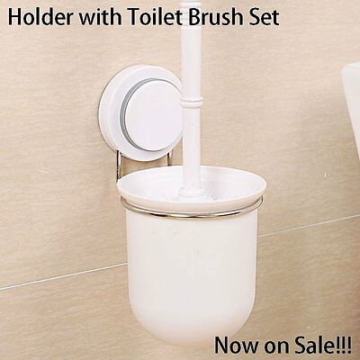 Sales!!!Wall Mounted Stainless Steel Toilet Brush Holder Set Cleaning Tool