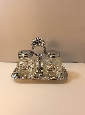 Vintage Glass Salt And Pepper Shaker With Tray Collectible Silver Plated