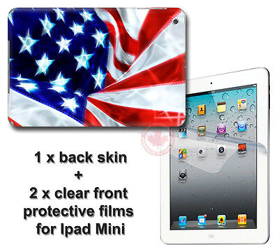 USA Flag Back SKIN STICKER DECAL COVER and 2 protected films for Apple iPad Mini