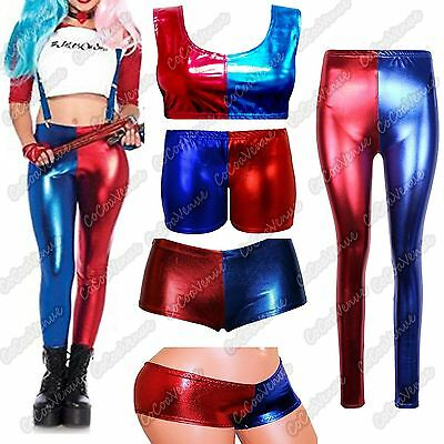 New Ladies Harley Quinn Cosplay Suicide Squad Halloween Costume Top Shorts Pants