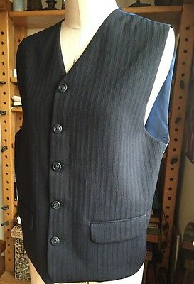 """Vintage Size 40"""" Chest High Buttoned Waistcoat Wool Blend Navy Blue Satin Stripe"""