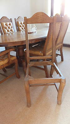 *two*  Solid Oak Unfinished Bespoke Quality Carved Office Dining Chair Leather