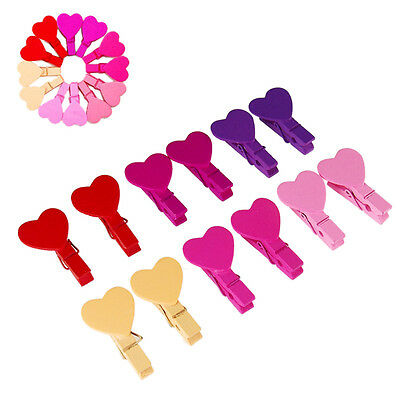 12Pcs Cute Love Heart Wooden Clothes Photo Paper Peg Pin Clothespin Craft Clips