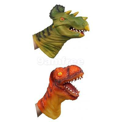 Jurassic Chomping Dinosaur Head Soft Rubber Hand Puppet Kids Story Telling Toy