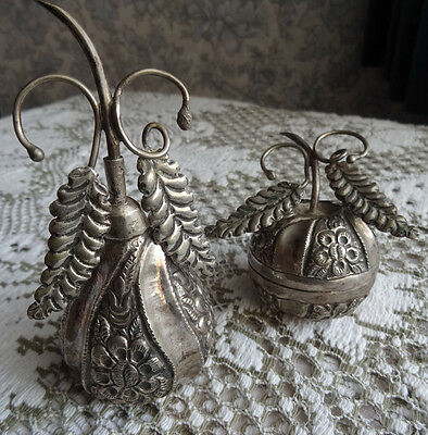 Vintage White Metal Dressing Table Items. Perfume And Trinket Containers.