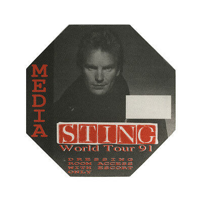 Sting authentic Media 1991 tour Backstage Pass