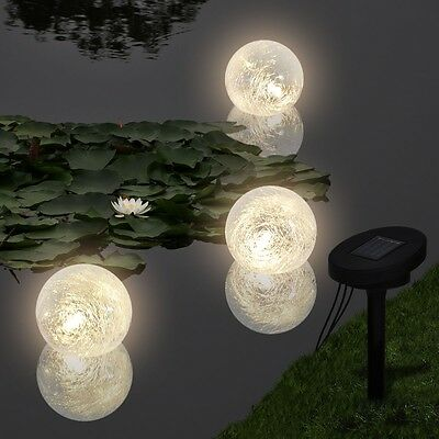 #sNew Solar Bowl 3 LED Floating Ball Light for Pond Swimming Pool Submersible