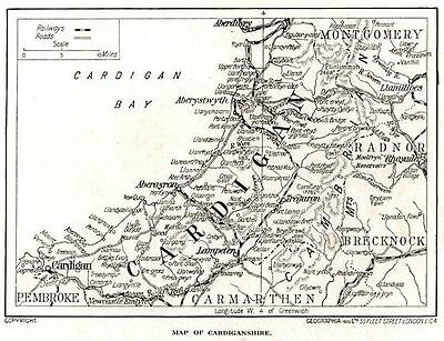 1923 map of Wales: old county of Cardiganshire ready-mounted antique print SUPER