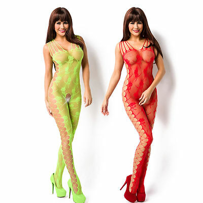 Sexy Netz Catsuit Bodystocking Netzstruktur floralem Muster Träger Body Stocking