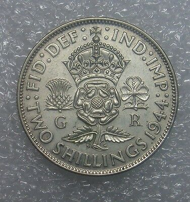 Silver Coin .500, Uk, 2 Shillings, 1944