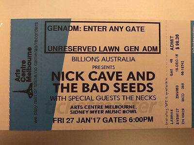 Nick Cave & The Bad Seeds, Friday 27 January 2017, Melbourne, 2 x GA tickets