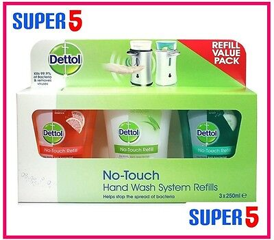 DETTOL HAND WASH REFILLS FOR NO TOUCH SYSTEM (3X 250ml)- BUSINESS,HOME USE