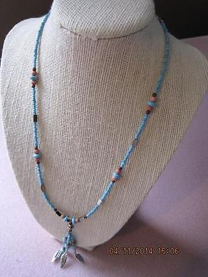 NATIVE INDIAN Seed BEAD WORK Handmade Necklace Feathers