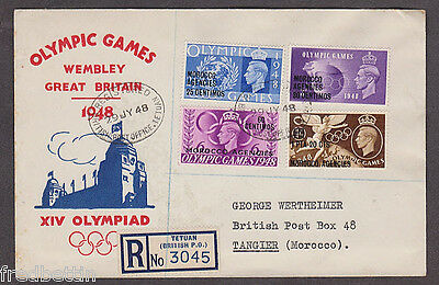 Gr. Britain Morocco Agencies - 1948 1st day registered cacheted Olympics cover